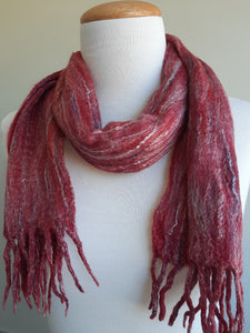 Merino Silk Scarf Berries Dark Red