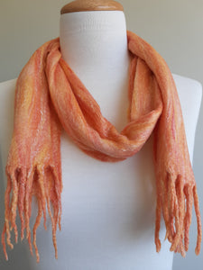 Merino Silk Scarf Saffron Orange