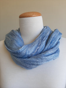 Merino Silk Scarf Skyscape Light Blue