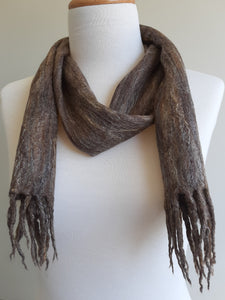 Merino Silk Scarf Spice Dark Brown