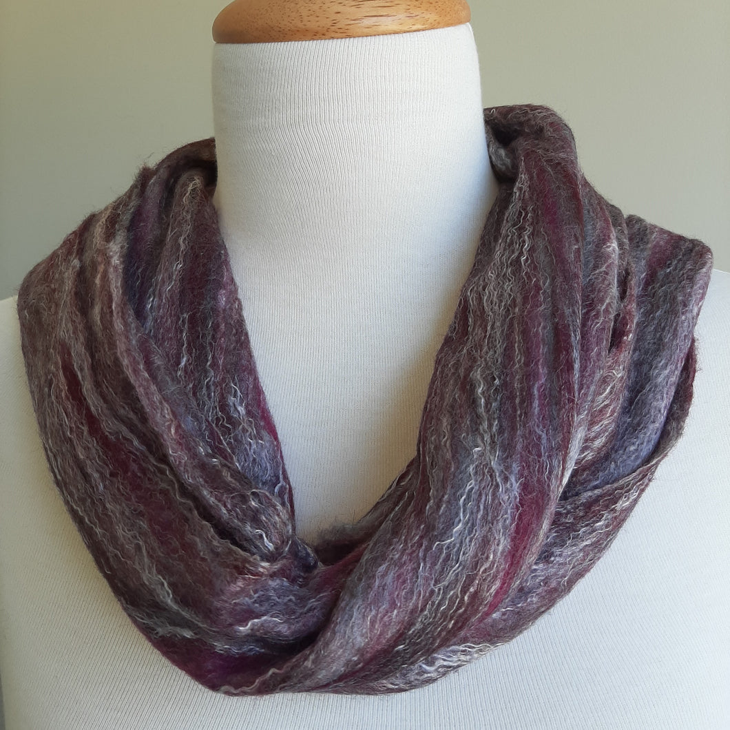 Merino Silk Scarf Storm Dark Purple