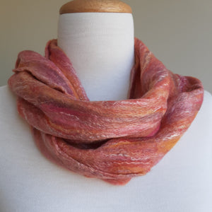 Merino Silk Scarf Sunset Pink Orange