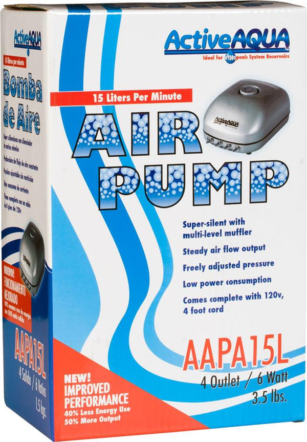 Active Aqua Air Pump 4 Outlets 6W 15L/min (16/cs)