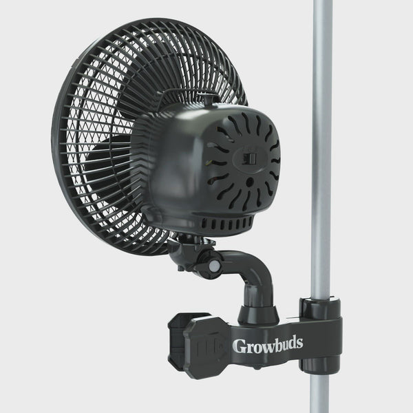 Growbuds 6 Inch Grow Tent Oscillating Clip-On Fan, In stock and ready to ship