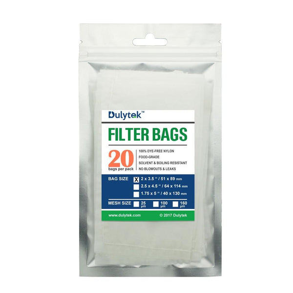 "Dulytek® Rosin Press Nylon Filter Bags, 2"" X 3.5"", 20 Pcs, Various Micron Mesh Sizes Available With Free Packing Card"
