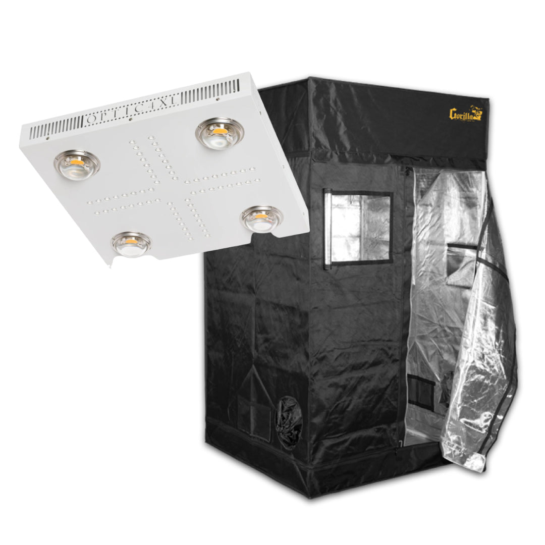 Optic LED Optic 4 XL Dimmable LED Grow Light 460w 3500K COBs and Gorilla Grow Tent Bundle