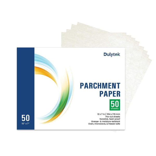 "Dulytek® 50-Sheet Rosin Press Parchment Paper, Pre-Cut 10"" X 7"""