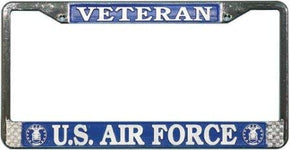 Veteran US Air Force metallic silver on Blue Chrome License Plate Frame