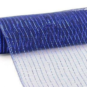 10inX10yd Metallic Mesh Navy WRoyal Blue Foil
