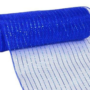 10inX10yd Metallic Mesh Royal Blue WBlue Foil