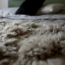 Load image into Gallery viewer, Warm and cozy is the definition of Veldt. Made from pure Merino Wool, one cannot resist the tenderness and fluffiness. In need of a rug for your chalet in the Alps? Look no further than this cheerful and gentle throw. It has a very textured finish with elegant felted borders, resembling a fleece.