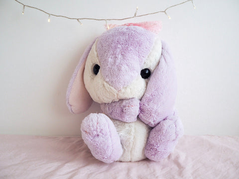 Amuse Poteusa Loppy Bunny Purple Lilac Pink Bow 42cm BIG Plush