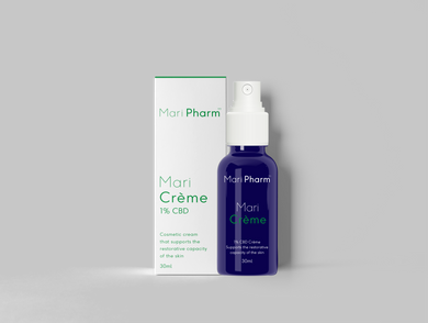 MariCrème - 1% (100mg) Hemp Extract in a skin moisturising cream.