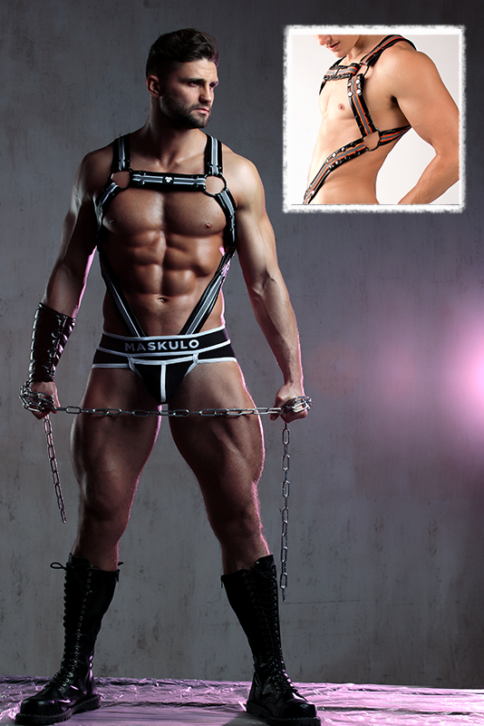 Youngero. Men's Fetish Body Harness. Neon