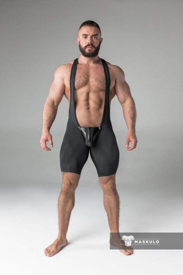 Armored. Men's Fetish Wrestling Singlet. Codpiece