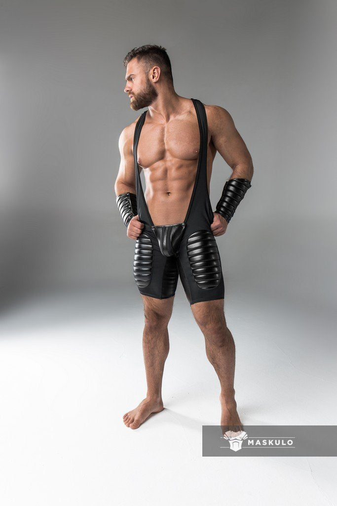 Armored. Men's Fetish Wrestling Singlet. Codpiece. Open Rear. Thigh Pads