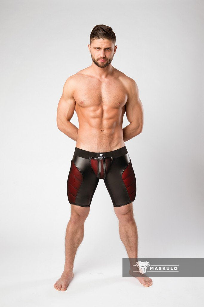 Armored. Color-Under. Men's Fetish Cycling Shorts. Zipped rear