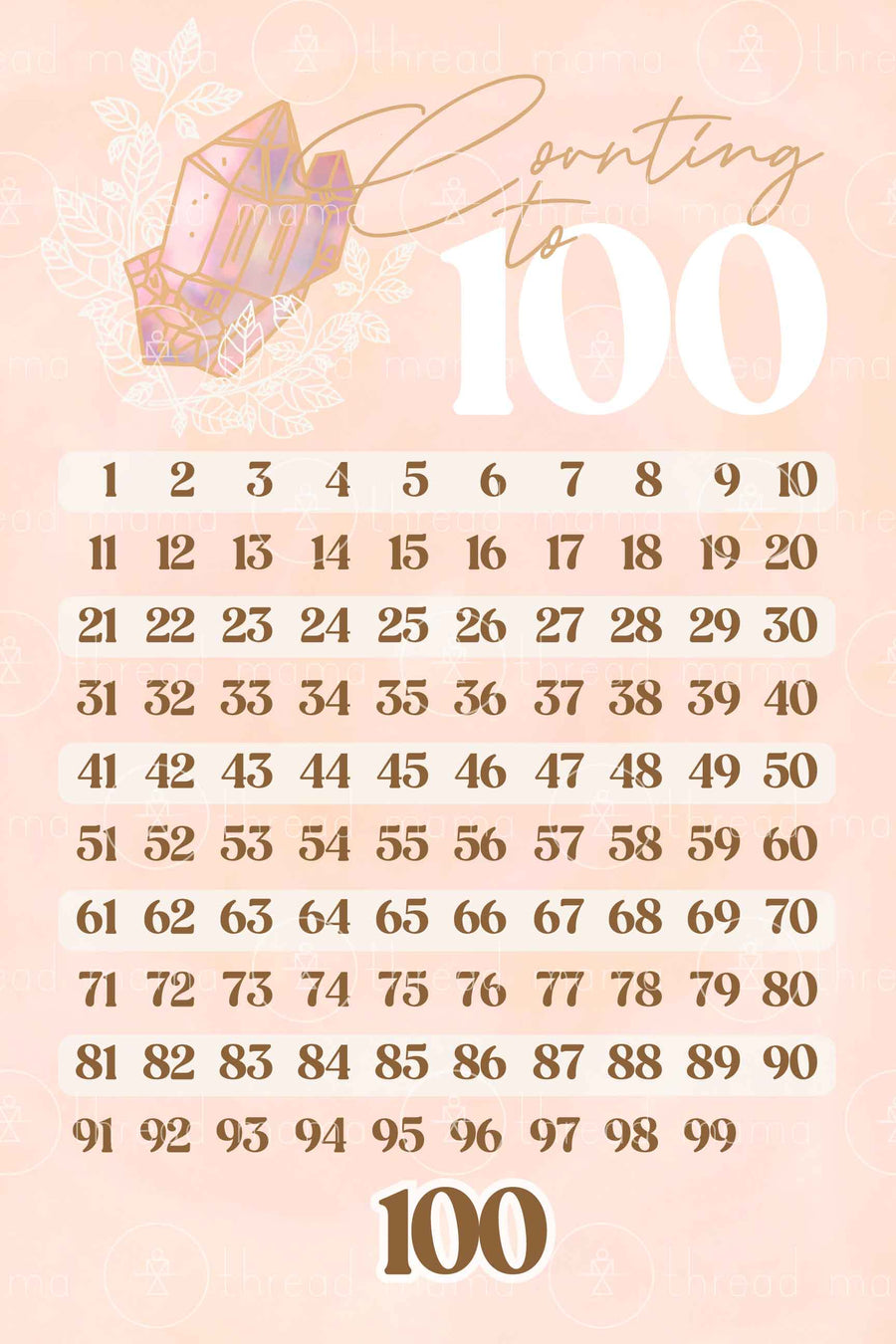 Counting to 100 Chart - Gem Collection (Printable Poster)