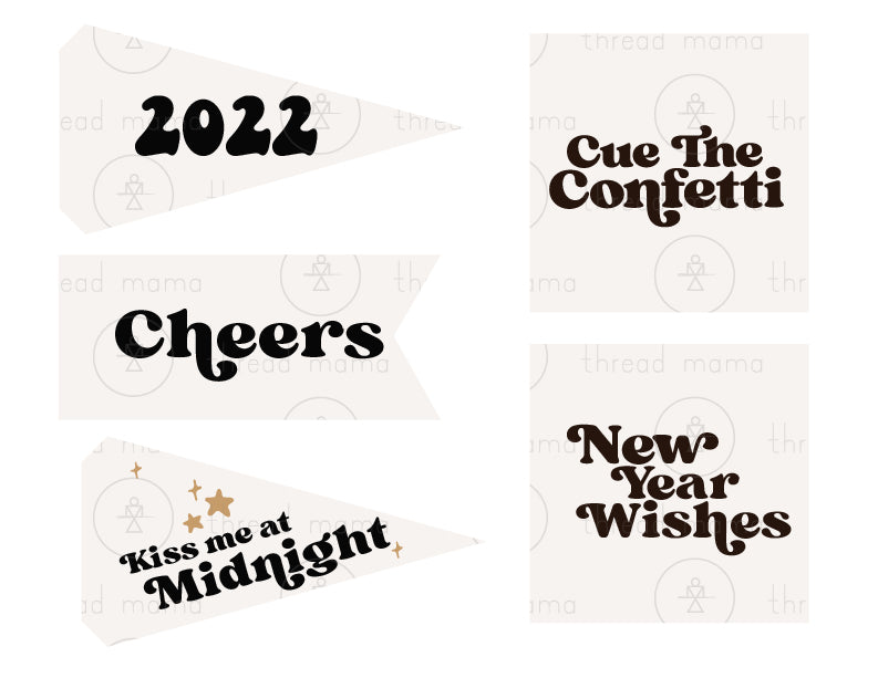 New Year's Party Tags and Flags