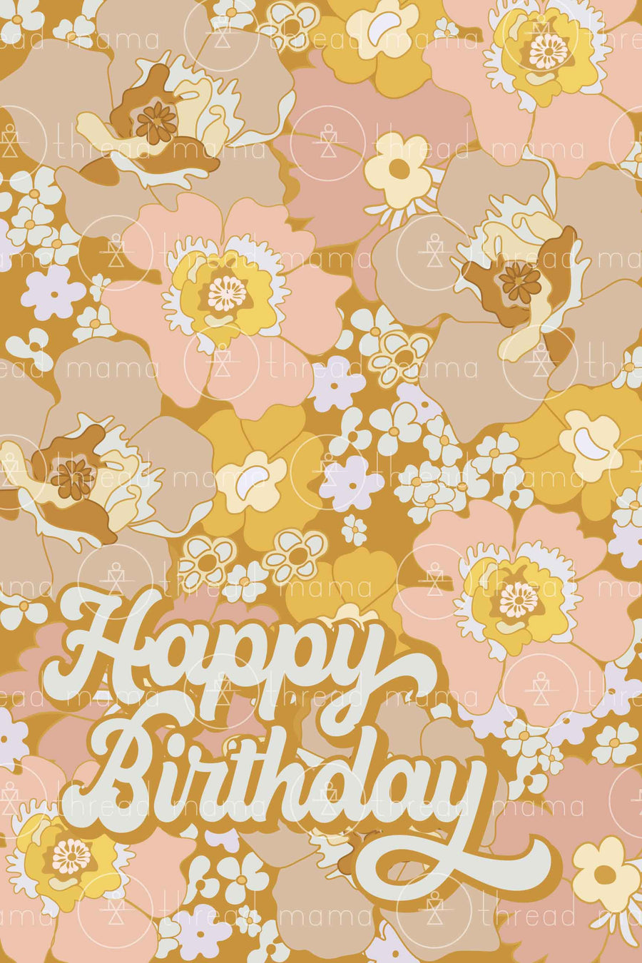 Golden Floral Happy Birthday (Printable Poster)