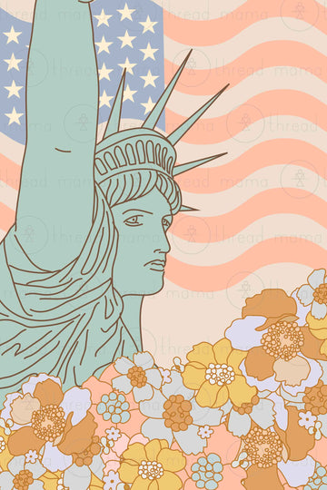 Lady Liberty Floral (Printable Poster)