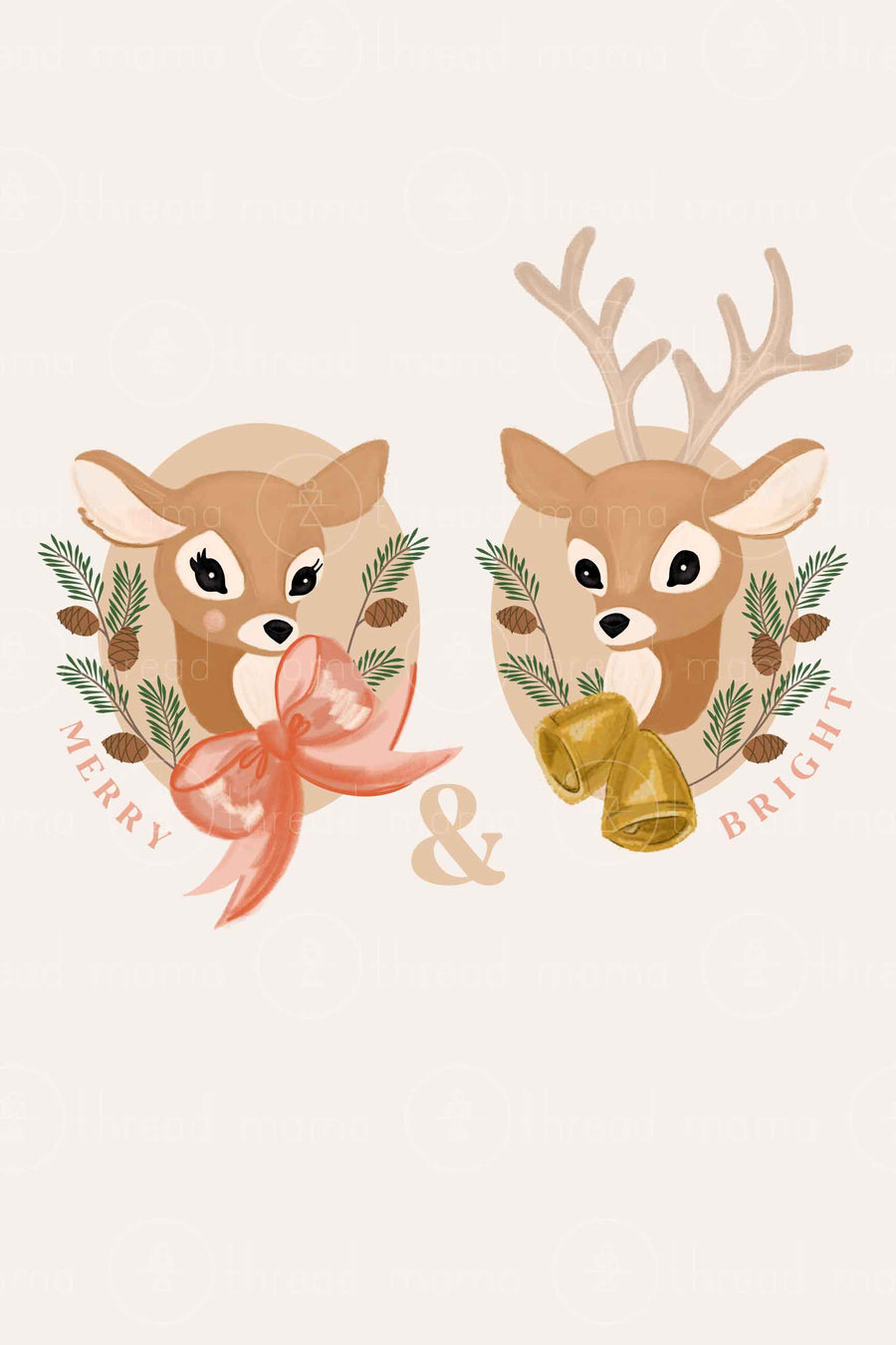 Merry and Bright Deer Pair (Printable Poster)