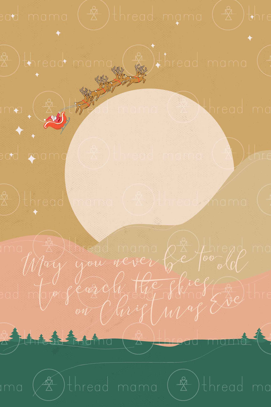 Over The Moon Santa (Printable Poster)