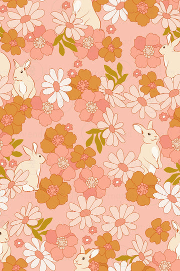 Floral Bunny Background (Printable Poster)