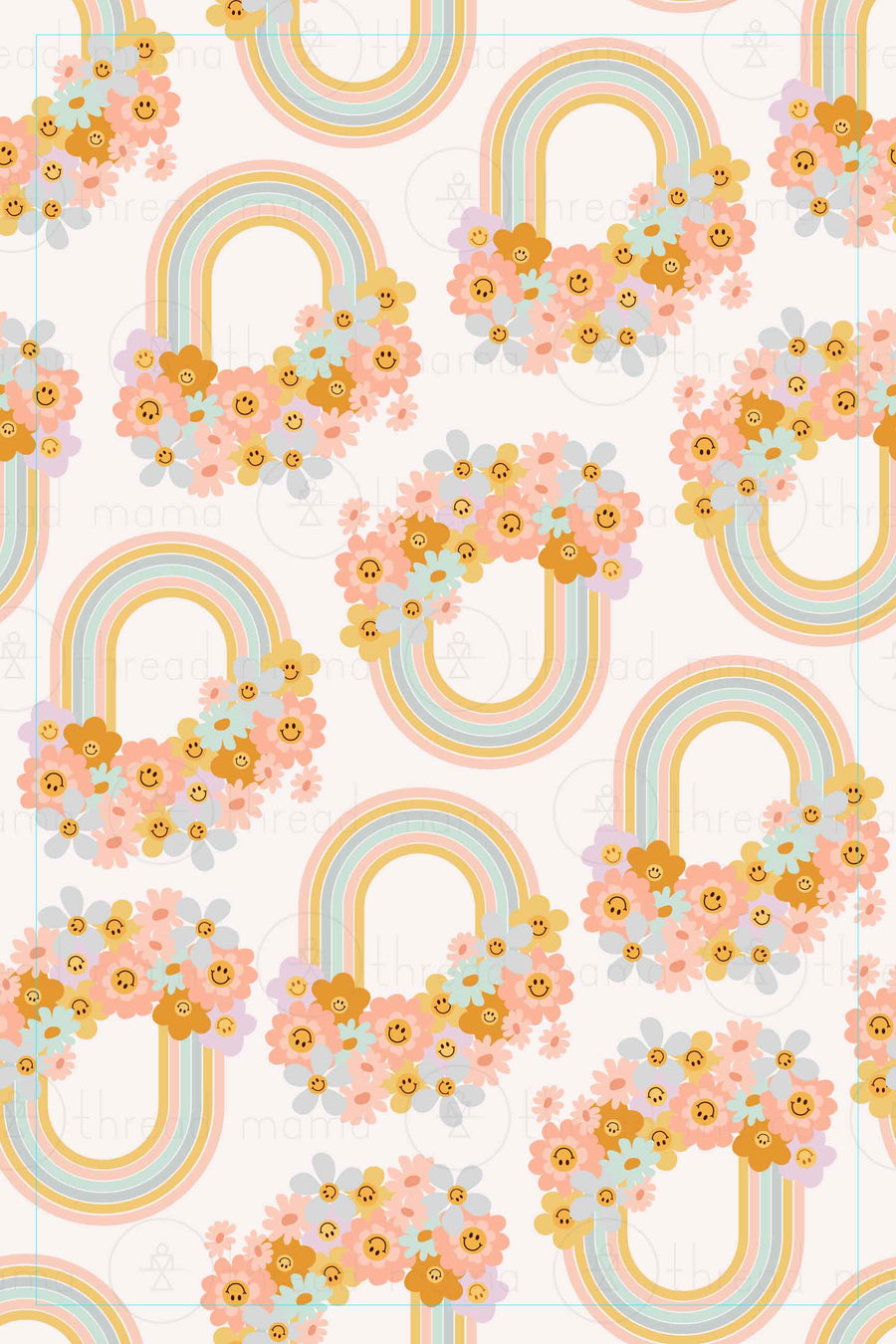 Background Pattern 65 - Rainbow Smiley Face Flowers
