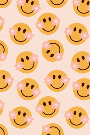 Background Pattern 73 - Flower Smiley Face