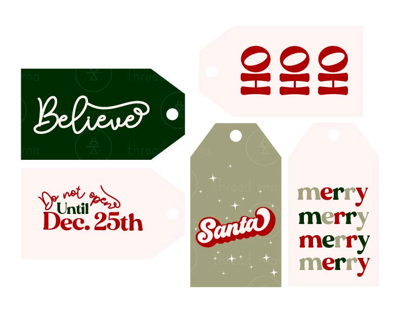 Holiday Tags and Pennants - Green