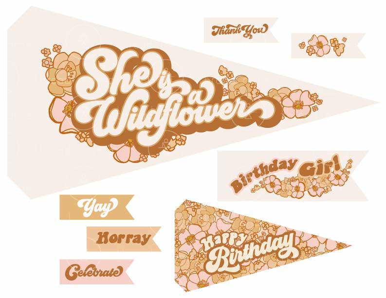 She is a Wildflower Birthday (Printable Pennant)