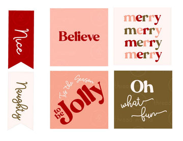 Holiday Tags and Pennants - Pink