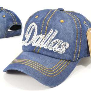 Dallas Bling Denim Caps