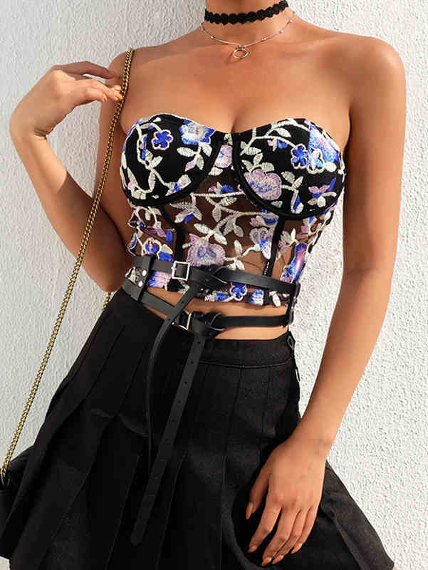 Fashion Embroidered Printed Sheer Mesh Top
