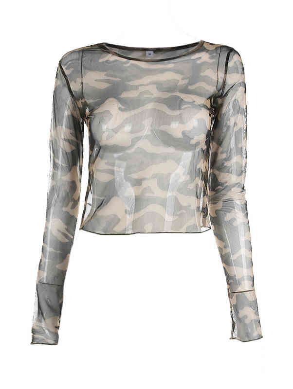 Mesh Camouflage See Through T-Shirt