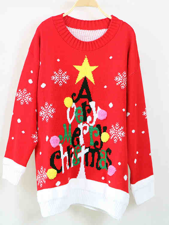 Fashion Letter Print Christmas Knit Loose Sweater Top