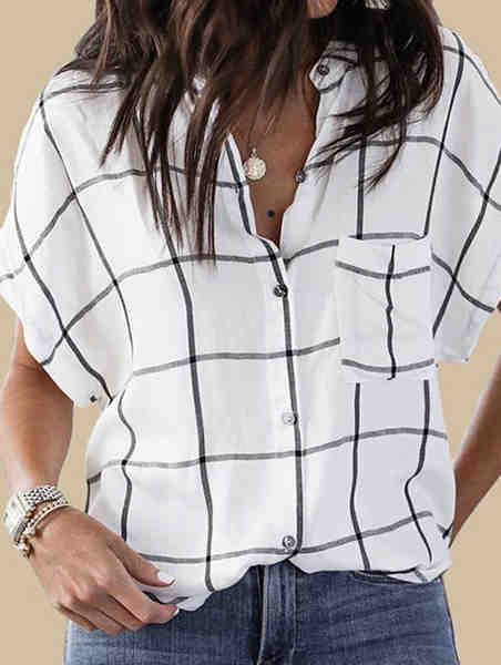 White Bat Sleeve Plaid T-Shirt