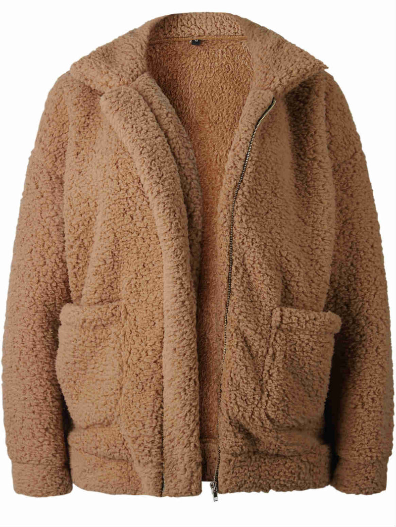 Fall and Winter Zipper with Pockets Faux Fur Coat