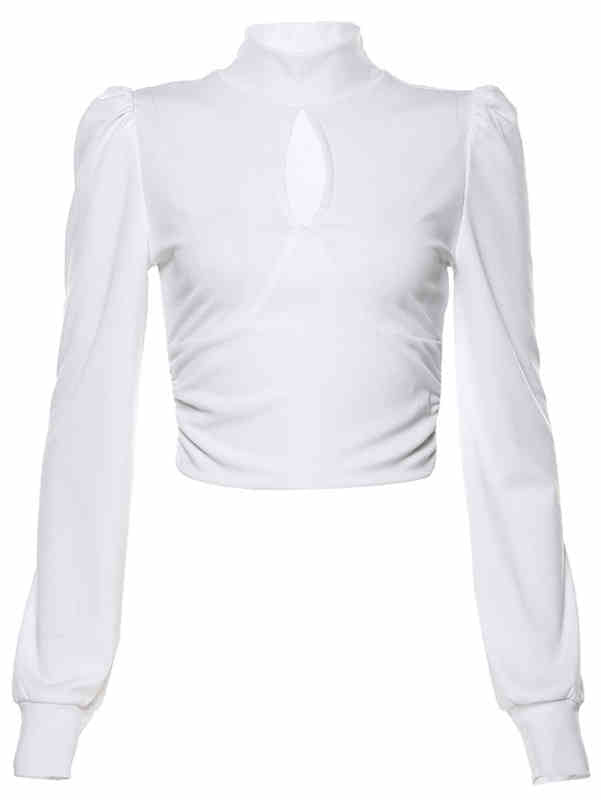 Round Neck Long Sleeve Cutout Slim T-Shirt