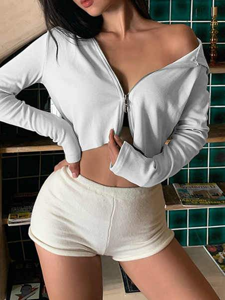 Solid Color Slim Hooded Long Sleeve Top