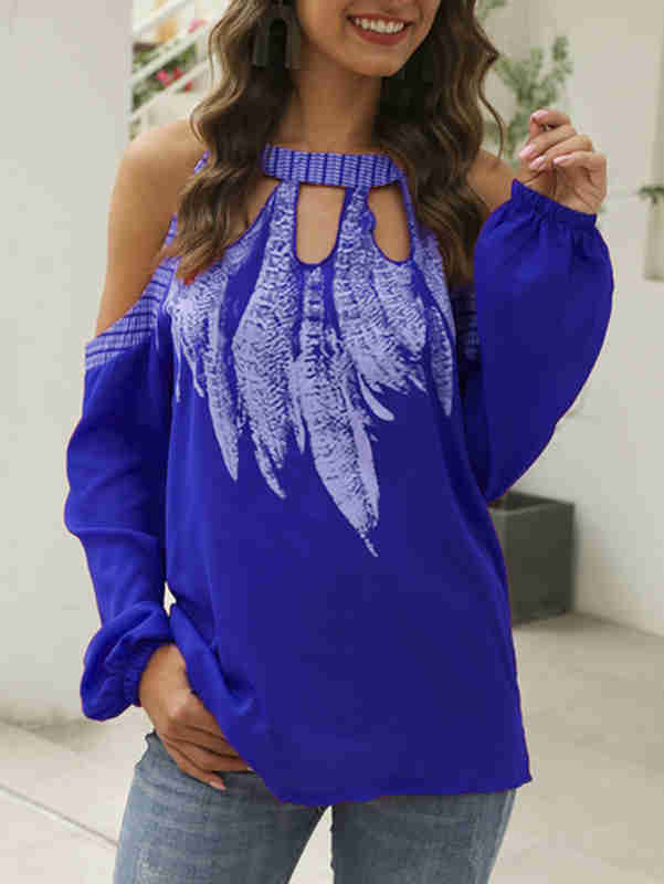 Long Sleeve Printed Off-Shoulder Chiffon Shirt