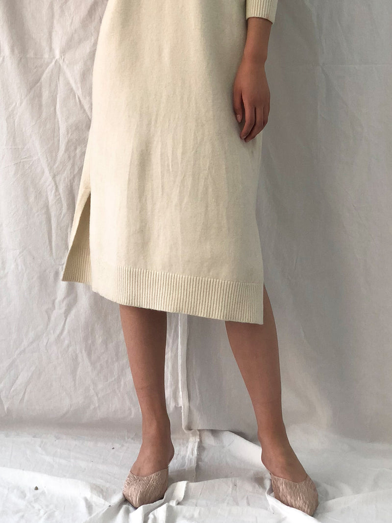 Ivory Turtleneck Midi Sweater Dress