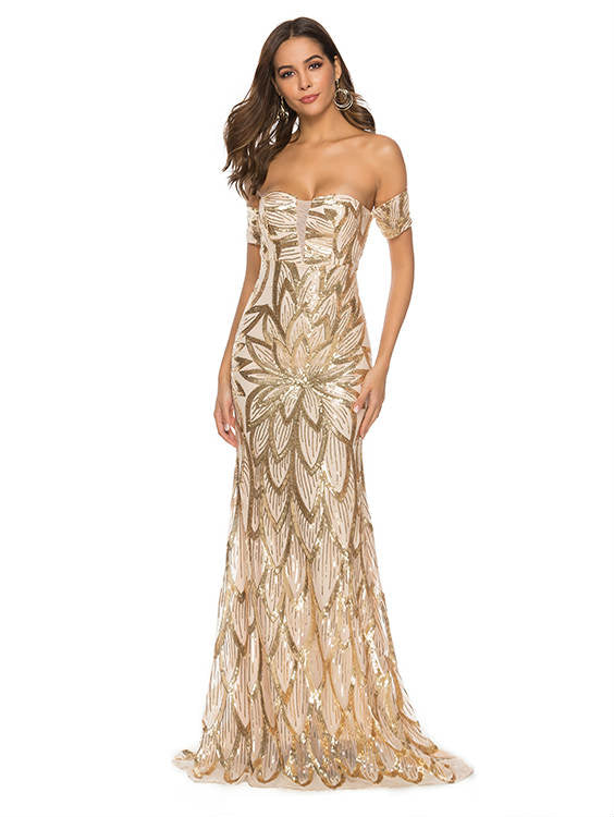 Strapless Boat Neck Sequin Maxi Dress
