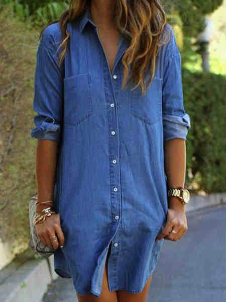 Long Sleeve V-neck Blue Denim Shirt Mini Dress