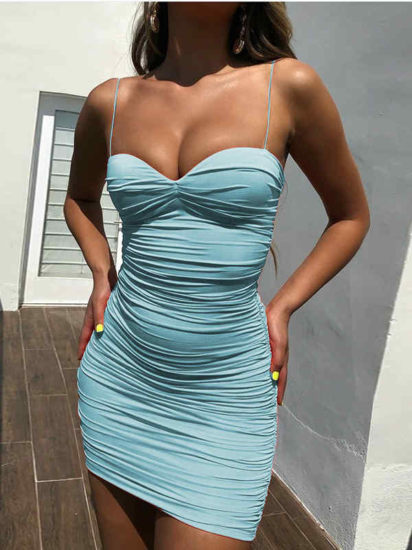 Spaghetti Straps Low Cut Mini Dress