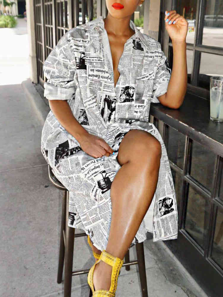 Newspaper Print Jacket Dress