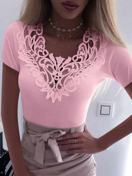 Lace V-Neck Short Sleeve Top