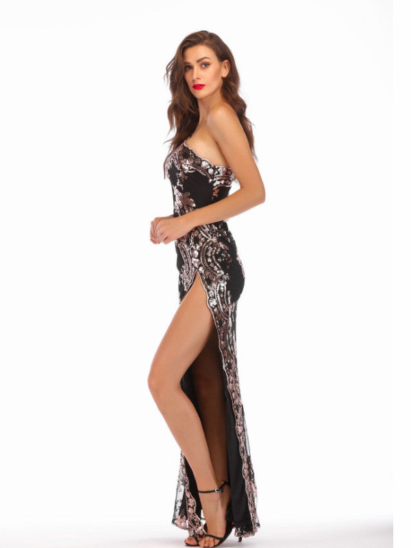 One Shoulder Slit Sequin Maxi Dress