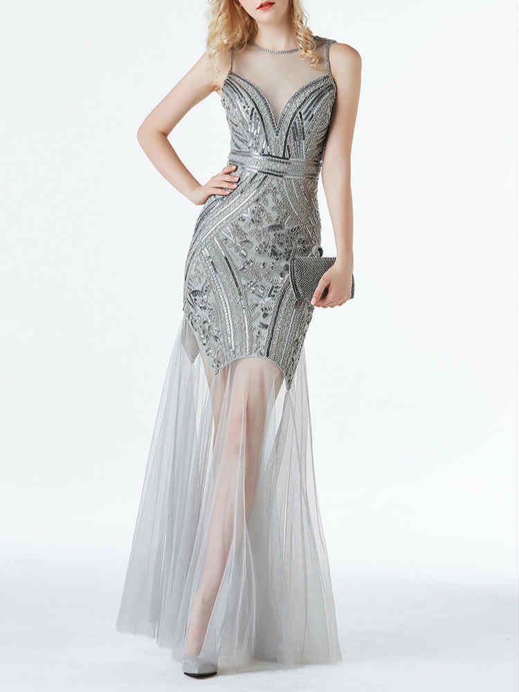 Mesh Sequin Part Prom Maxi Sequin Evening Dress